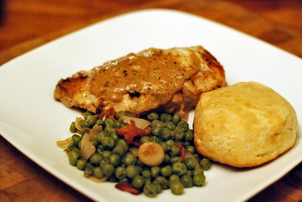 Oven Fried Buttermilk Chicken & Gravy, Southern Style Peas & a Biscuit