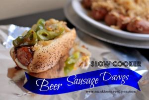Slow Cooker Beer Sausage Dawgs | Aunt Bee's Recipes