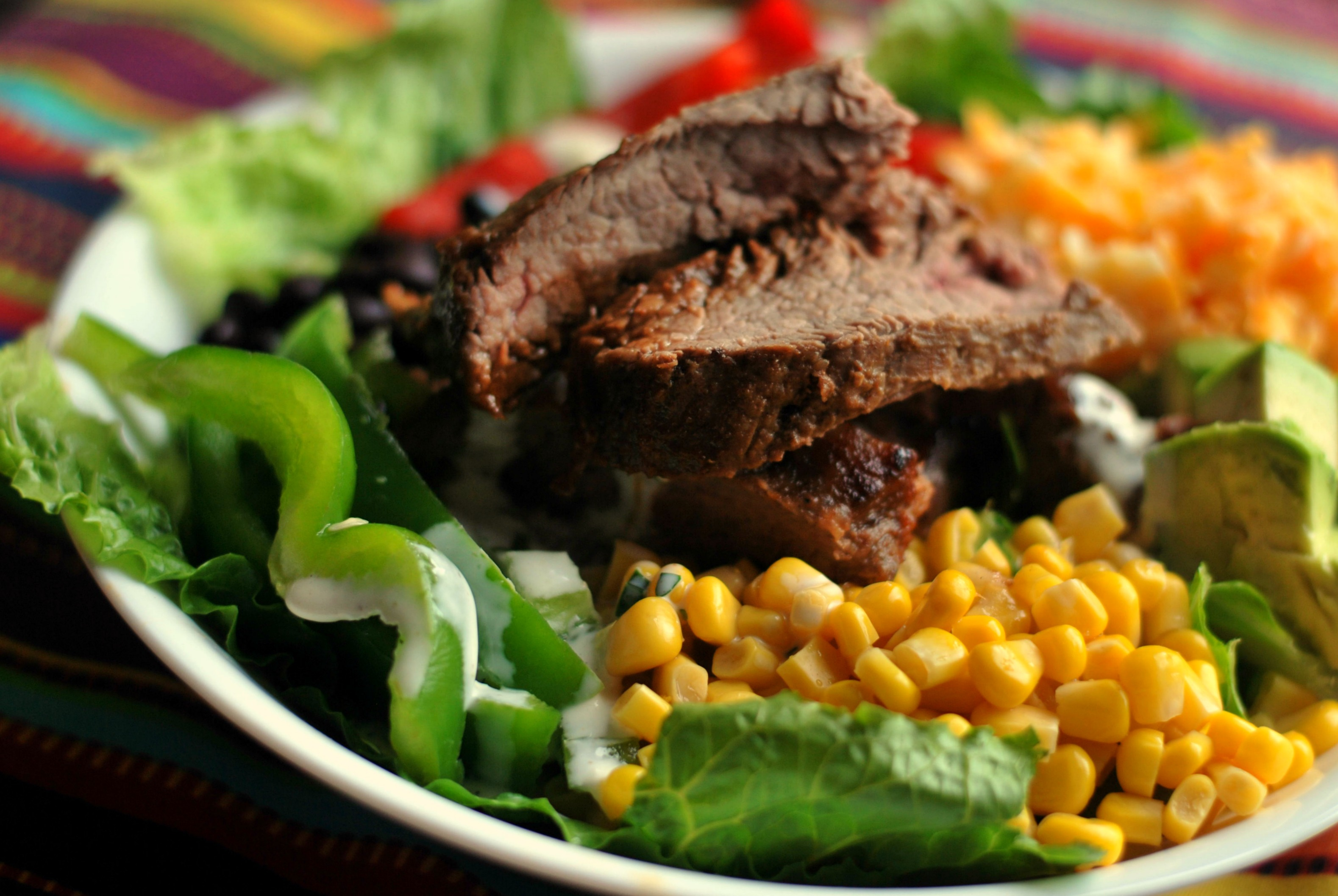 Southwest Steak Salad with Cilantro-Lime Buttermilk Dressing