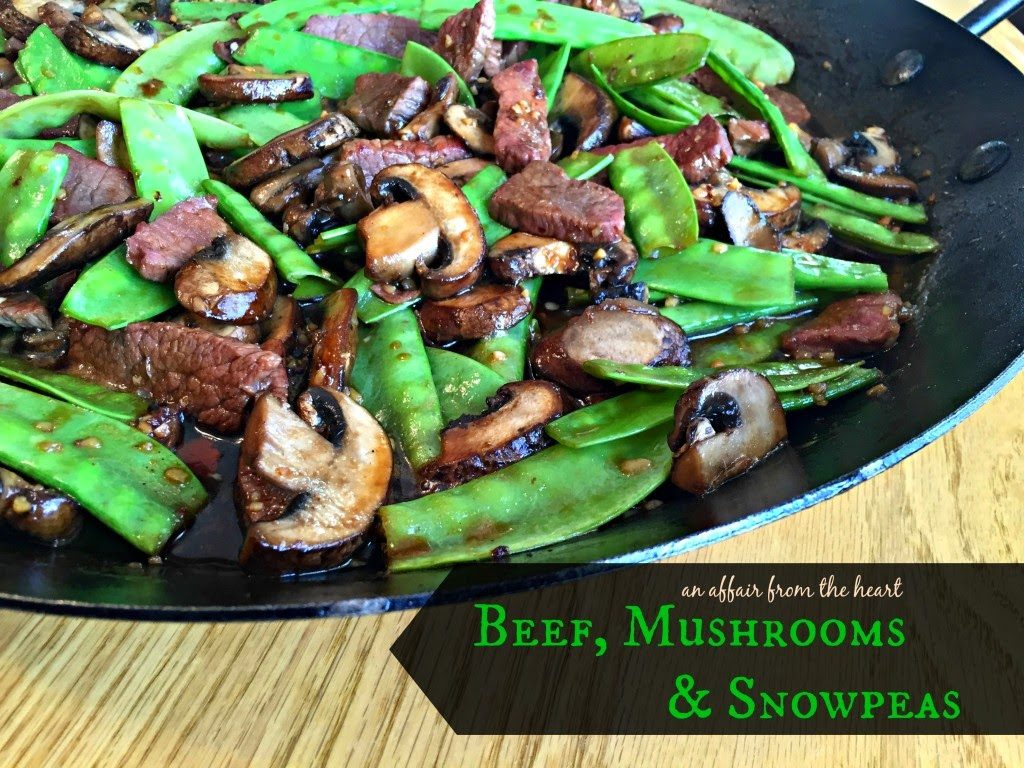 Asian Beef Mushrooms and Snow Peas