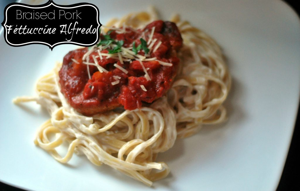 {5 Ingredient} Braised Pork Fettuccine Alfredo   Aunt Bee's Recipes