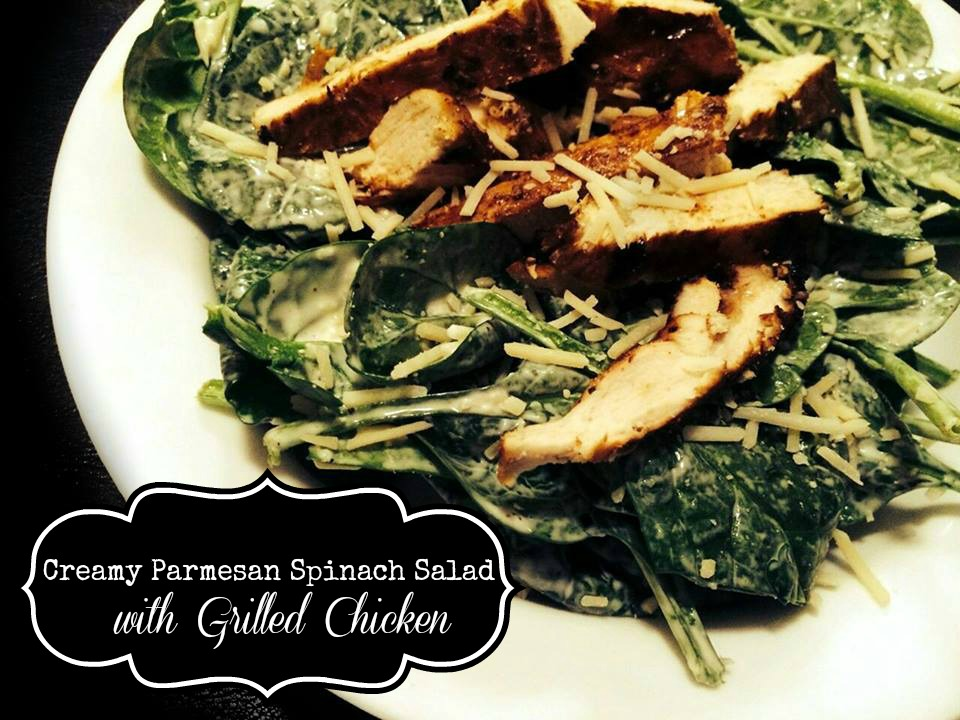 Creamy Parmesan Spinach Salad with Grilled Chicken | Aunt Bee's Recipes