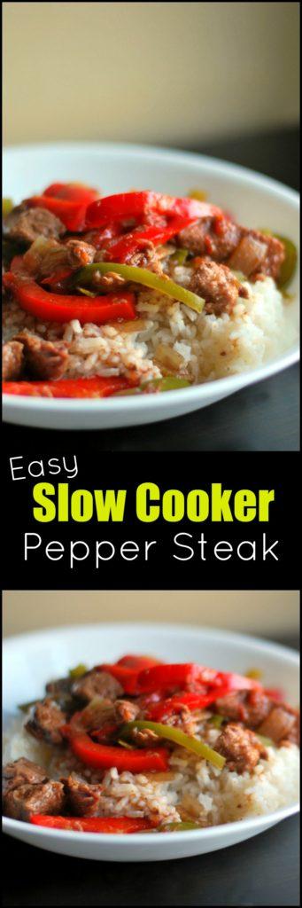 Easy Slow Cooker Pepper Steak | Aunt Bee's Recipes