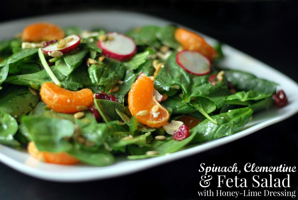 Spinach, Clementine & Feta Salad with Honey-Lime Dressing | Aunt Bee's Recipes