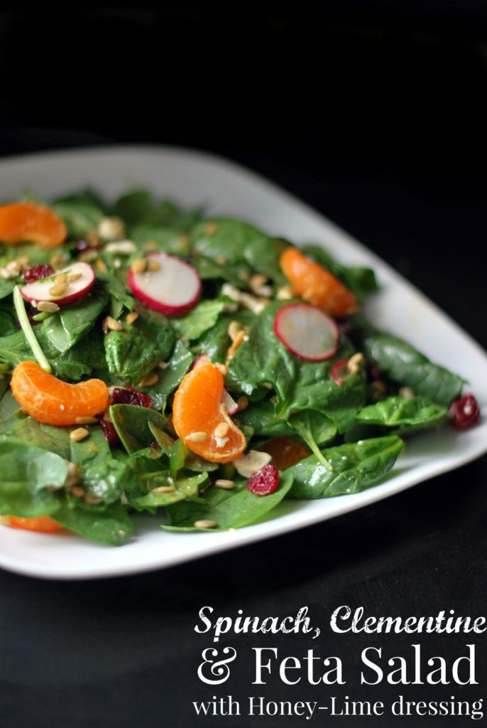 Spinach, Clementine, & Feta Salad with Honey-Lime Dressing