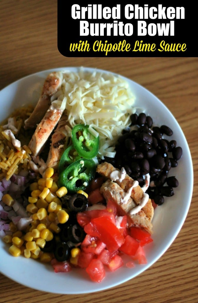 Grilled Chicken Burrito Bowl with Chipotle Lime Sauce | Aunt Bee's Recipes