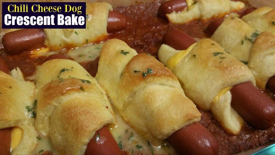 chili cheese crescent dog bake