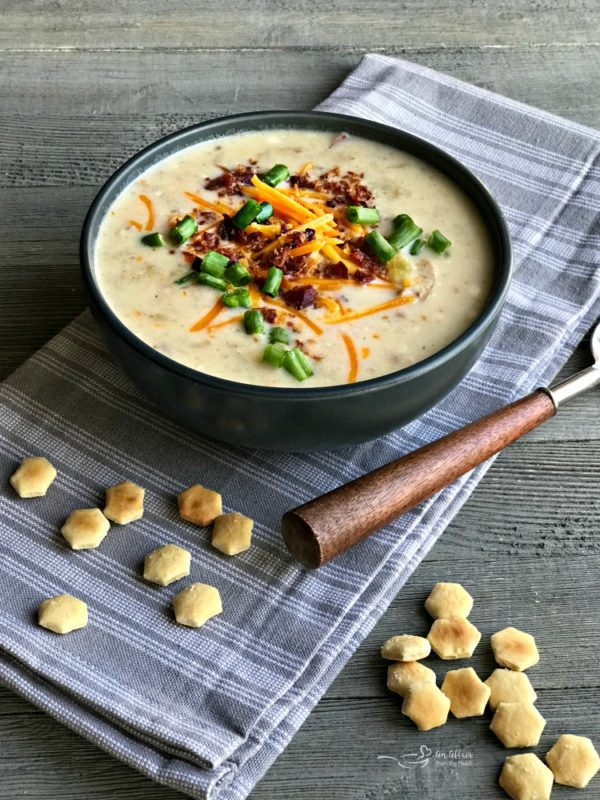 Instapot Loaded Potato Soup – Made with red and gold baby potatoes, skins left on, instant pot cooked with celery, bacon, cheese.   It's like a warming loaded baked potato in a bowl.